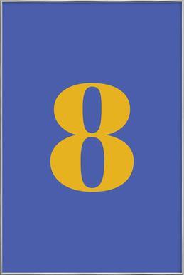 Blue Number 8 affiche sous cadre en aluminium
