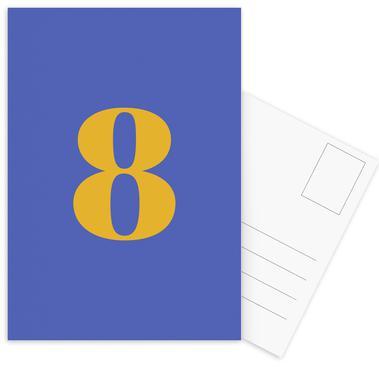 Blue Number 8 cartes postales