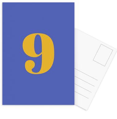 Blue Number 9 cartes postales