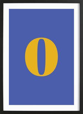 Blue Number 0 affiche sous cadre en bois