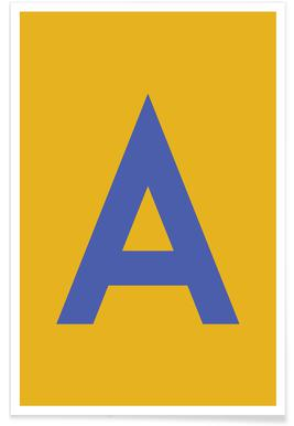 Yellow Letter A Poster