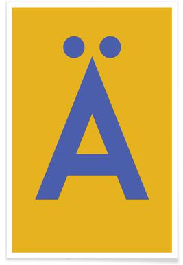 Yellow Letter Ä poster