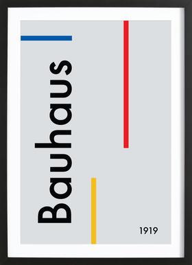 Bauhaus 1919 affiche sous cadre en bois