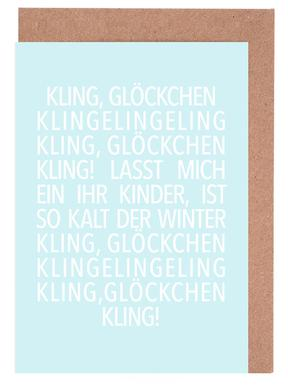 Kling Glöckchen Blue Greeting Card Set