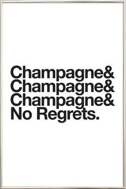 Champagne & Regrets affiche sous cadre en aluminium