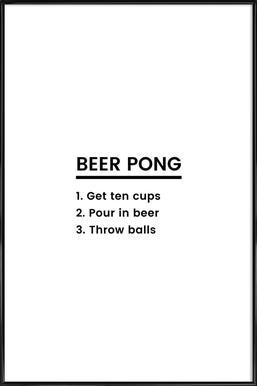 Beer Pong Recipe Poster in Standard Frame