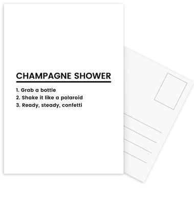 Champagne Shower Recipe Postcard Set