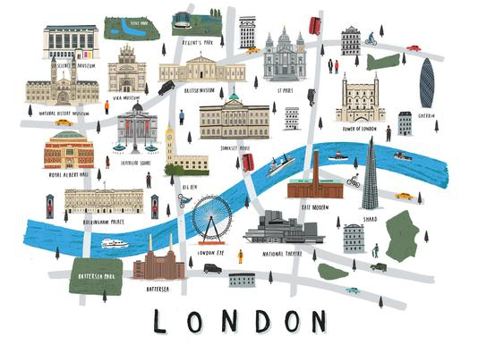 London Map Impression sur toile