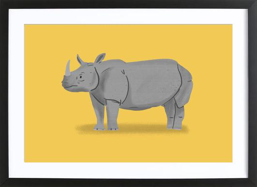 Rhino as Poster in Aluminium Frame by Alex Foster | JUNIQE
