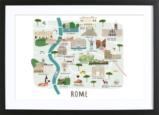 Rome Map Poster im Holzrahmen