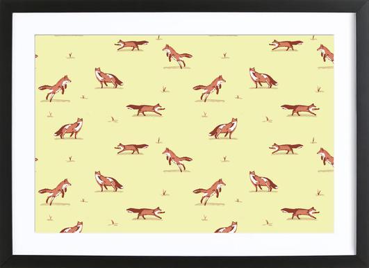 Foxes Poster im Holzrahmen