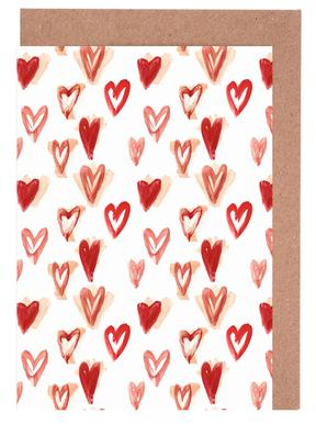 Raining Hearts Greeting Card Set