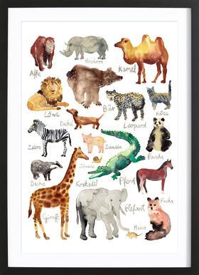 The Animal Kingdom Affiche sous cadre en bois
