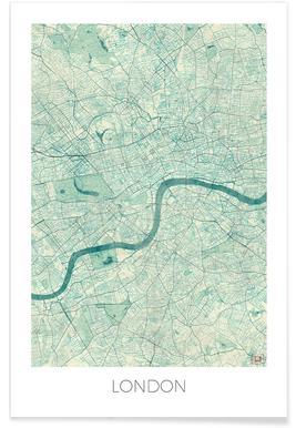 Londres - Carte vintage Affiche