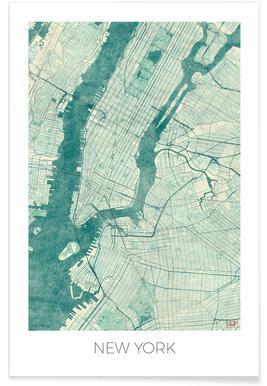 New York - Carte vintage Affiche