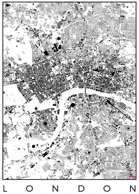London Map Schwarzplan As Canvas Print By Hubert Roguski Juniqe
