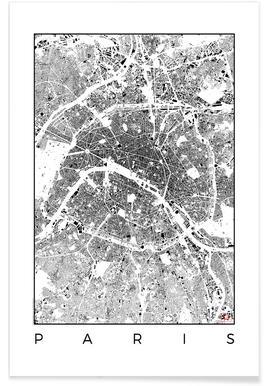 Parijs - zwarte stadskaart Poster