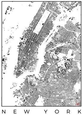 New York Map Schwarzplan Canvas print
