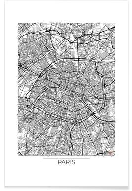 Paris Minimal Map Poster