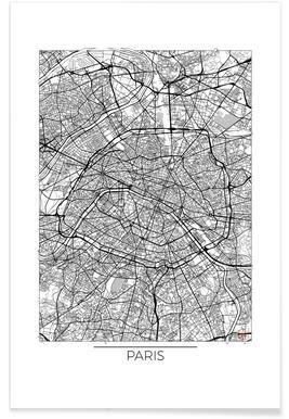 Paris - Carte minimaliste affiche