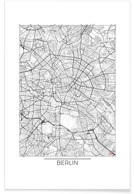 Berlin-Minimalistische Stadtkarte Poster