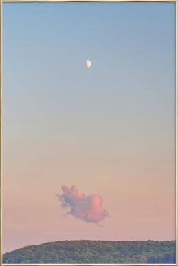Forest Cloud Moon Poster im Alurahmen