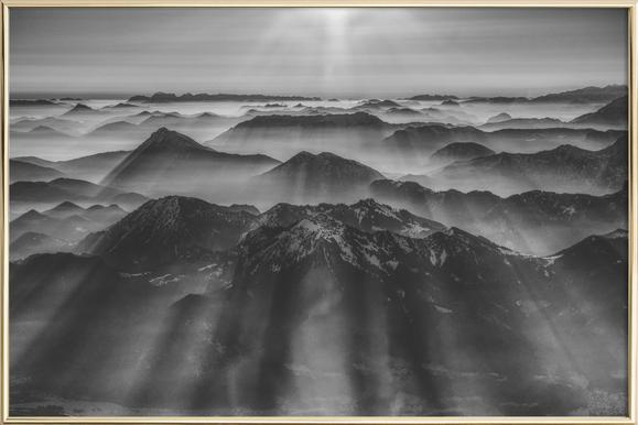 Balloon Ride over the Alps 1 -Poster im Alurahmen
