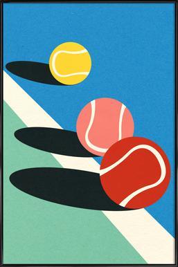 3 Tennis Balls Poster in kunststof lijst