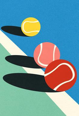 3 Tennis Balls tableau en verre