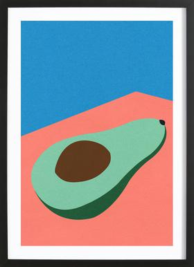 Avocado on the Table Poster in Wooden Frame