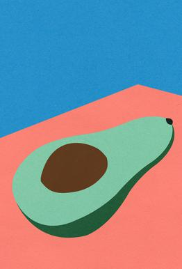 Avocado on the Table Plakat af akrylglas