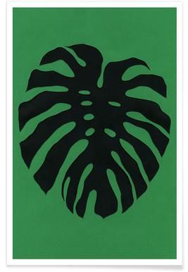 Black Monstera Poster