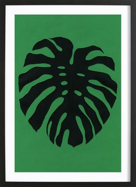 Black Monstera Plakat i træramme