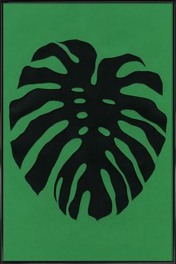 Black Monstera Poster in kunststof lijst