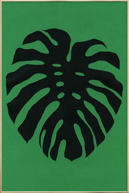 Black Monstera Poster im Alurahmen