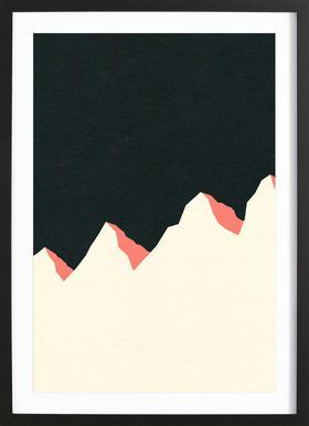 Dark Night White Mountains Poster in houten lijst