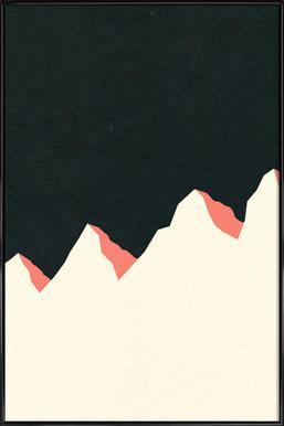 Dark Night White Mountains Poster in kunststof lijst