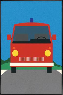 Fire Engine Poster im Kunststoffrahmen