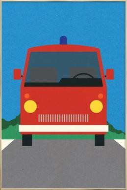 Fire Engine -Poster im Alurahmen