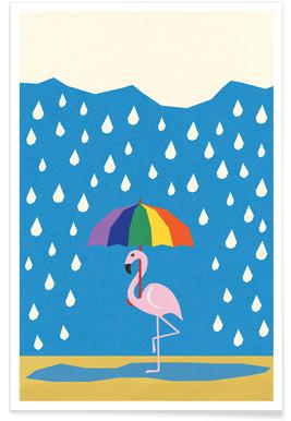 Flamingo de Umbrella Poster