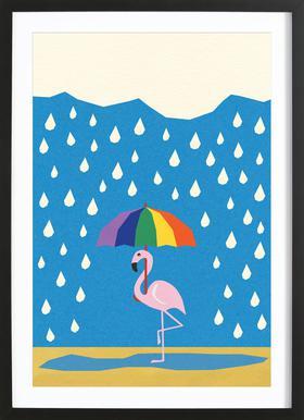 Flamingo de Umbrella affiche sous cadre en bois