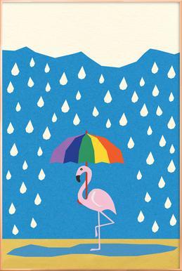 Flamingo de Umbrella Poster in aluminium lijst