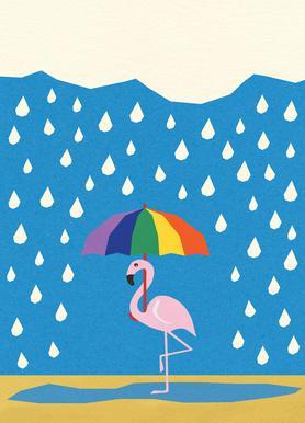 Flamingo de Umbrella Lærredstryk