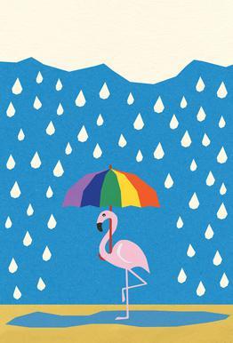 Flamingo de Umbrella acrylglas print
