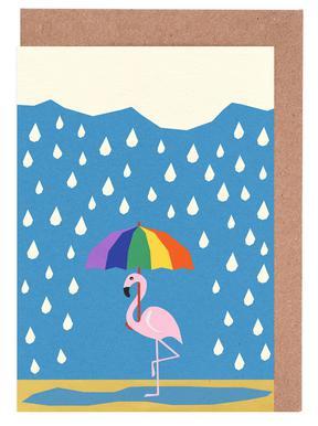 Flamingo de Umbrella Lykønskningskort sæt