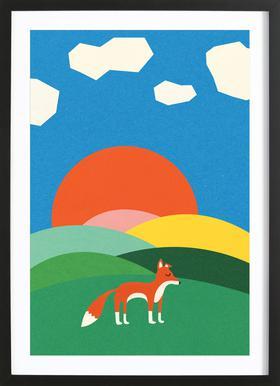 Fox and Field -Bild mit Holzrahmen