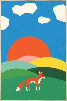 Fox and Field Poster im Alurahmen
