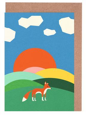 Fox and Field Grußkartenset