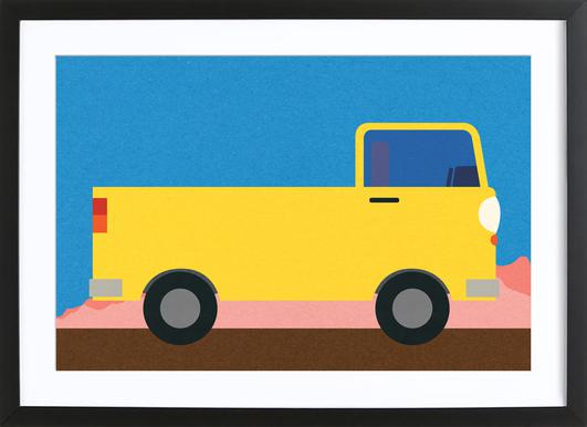 Little Yellow Pickup Truck Poster in Wooden Frame
