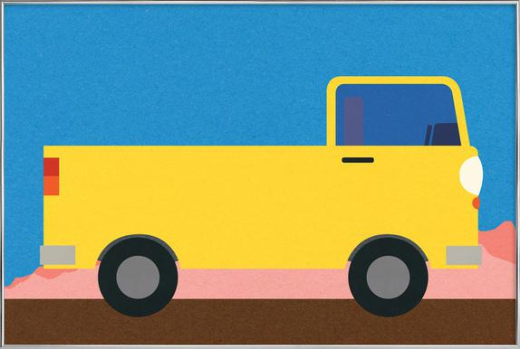 Little Yellow Pickup Truck Poster in Aluminium Frame